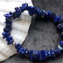 Kékben - lápisz lazuli szplitter szett, Ékszer, Fülbevaló, Karkötő, Természetes lapisz lazuli szplitter kövekből  készült karkötő és fülbevaló. Egyszerű, de ..., Meska