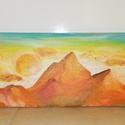 Sárga hegyek, Otthon & lakás, Dekoráció, Kép, Képzőművészet, Festmény, Akril, Lakberendezés, Festészet, Vászonra akrillal festett sárga hegycsúcsok Méret: 60x20cm, Meska
