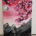 Blossom, Otthon & lakás, Képzőművészet, Festmény, Akril, Napi festmény, kép, Vegyes technika, Festészet, Rózsaszín virágos faágak a vele kontrasztban lévő szürke hegyek felett Méret: 24x18, Meska
