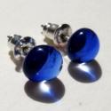 Laguna - fülbevaló , Ékszer, Fülbevaló, Ragyogó kék fülbevaló, kicsit ovális formával. A mérete 0.7cm., Meska