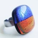 R and Blue  - Üveggyűrű, Ékszer, Gyűrű, Vörös és kék egyensúlya, az üveg mérete: 1.8x2.2cm, a gyűrűalap nemesacélból készült, 1..., Meska