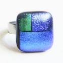 Simple Green - Üveggyűrű, Ékszer, óra, Gyűrű, Zöld+kétféle kék. Az üveg mérete: 1.5x1.6cm, a gyűrűalap nemesacélból készült, 1.66cm az..., Meska