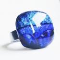 Aqua blue -  üveggyűrű, Ékszer, óra, Gyűrű, Ékszerkészítés, Üvegművészet, Fenséges ovális gyűrű, csupa kék színekkel, egyedi darab. Az üveg mérete:2.0x2.3cm, a gyűrűalap nem..., Meska