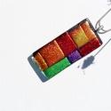 Lone  - Üvegmedál, Ékszer, Medál, Karakteres nagyméretű medál, narancs- piros- zöld- lila.. A mérete: 2.2x5.0cm,a medálakasztó ..., Meska