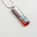 Silver line - Üvegmedál, Ékszer, Medál, Meleg és hideg színekből készült elbűvölő medál. A mérete: 4.5x1.5cm,a medálakasztó ezü..., Meska