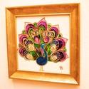 Aranyozott páva, Otthon, lakberendezés, Dekoráció, Kép, Falikép, Festészet, Festett tárgyak, sz 25,5cm x m 25,5cm. Csinos páva harmonikus színekkel, pozitív energiákkal, aranyfüsttel és ruszti..., Meska