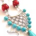 Türkiz-korallal egyedi nyakék, Egy remek színpárosítás gyönyörűen kidolgoz...