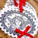 Angyali üdvözlet - ajándékcímke csomag (piros/5 db), Ékszereink mellett ajándékcímkéink tekinteté...