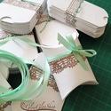 Csipkés díszdobozka szett (menta-45 db):, Ékszerek vagy akár apróbb esküvői ajándékok...