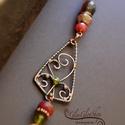 A grófné ajándéka... hosszú egyedi vörösréz nyaklánc, Ékszer, Nyaklánc, Vörösréz alapanyagból készült, antikolt egyedi ékszer - kézzel hajlított medál résszel, csiszolt ach..., Meska