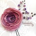 Rozina - egyedi alkalmi, menyasszonyi hajdísz, Esküvő, Hajdísz, ruhadísz, Vintage ihletésű menyasszonyi hajdísz.  A virág átmérője kb. 8 cm, melyet kristályos drótindákkal dí..., Meska