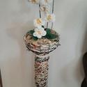 Horgolt Orchidea papír fonással készült oszlopon , Otthon & Lakás, Lakberendezés, Horgolás, Újrahasznosított alapanyagból készült termékek, Általam készített, gondozást nem igénylő, maradandó ajándék. Fényhiányos helyiségek díszítésére, sz..., Meska
