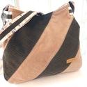 Női kordbársony táska, Táska, Válltáska, oldaltáska, 28cm magas, alsó részén 33cm széles. Oldala, talpa 6cm. Kordbársony, mintás pamutvászon és k..., Meska
