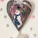 Gyapjúfilc karácsonyi szív , Dekoráció, Karácsonyi, adventi apróságok, Ünnepi dekoráció,  20 cm nagyságú ( bojttal együtt) gyapjúfilc szív,szilikonizált poliészter golyóval töltve, karácson..., Meska