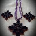 Lila virág, Ékszer, Ékszerszett, Quilling techikával készült ékszer szett! Medál méret: 5x5cm Füllbevaló méret:3,5x3,5 cm La..., Meska