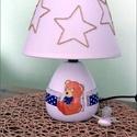 Babalámpa, éjszakai fény, macis, Baba-mama-gyerek, Otthon, lakberendezés, Gyerekszoba, Lámpa, Decoupage, szalvétatechnika, Gyöngyfűzés, A kedves és vidám motívummal díszített lámpa esztétikus és praktikus kiegészítője a gyerekszobának...., Meska