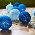 Tavaszköszöntő AKCIÓ!! - Kékség gömbifényfüzér, Baba-mama-gyerek, Dekoráció, Esküvő, Gyerekszoba, Mindenmás, Egyedi, kézzel készített, a kék szín színárnyalataiban pompázó cérna gömb fényfüzér. A 24 darabos L..., Meska