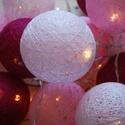 Puszedli gömbifényfüzér, Baba-mama-gyerek, Esküvő, Dekoráció, Mindenmás, Egyedi, kézzel készített málna, közép rózsaszín, halvány rózsaszín színekben pompázó cérna gömb fén..., Meska