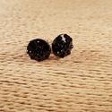Fekete köves gombfülbevaló, Ékszer, Fülbevaló, Fekete színű apró köveket tartalmazó műanyag gombokból készítettem a képen látható fülb..., Meska