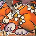 Vibók: A Mezőn Alvó Macska 35x56 cm (plussz keret) pasztell kép, Dekoráció, Képzőművészet, Kép, Vegyes technika, Festészet, Vibók: A Mezőn Alvó Macska 35x56 cm (plussz keret) pasztell kép  Jelzett pasztell kép dammarlakkal ..., Meska