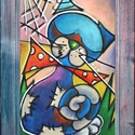 Vibók: A Nagyon Nagyon Kóbor Macska 35x50 cm (plussz keret) pasztell kép, Dekoráció, Képzőművészet, Kép, Vegyes technika, Festészet, Vibók: A Nagyon Nagyon Kóbor Macska 35x50 cm (plussz keret) pasztell kép  Jelzett pasztell kép damm..., Meska