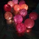 Bazsarózsa fényfüzér, Otthon, lakberendezés, Dekoráció, Lámpa, Ünnepi dekoráció, Mindenmás, Egyedi, kézzel készített gömb fényfüzér!  Garantáltan otthonossá teszi a szobád!12 egyedi gömb szűr..., Meska