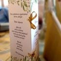 Esküvői menükártya levélkoszorúval