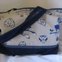 Kék,pöttyös,baglyos, Táska, Válltáska, oldaltáska, Varrás, Indigó fameranyag,lenvászon anyaggal kombinálva.Erős,strapabíró táska,2 belsőzsebbel.A nyílás cipzá..., Meska