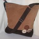 Capuccino táska, Táska, Válltáska, oldaltáska, Kávé színű puha farmer kombinálva egy capuccino színű velúr hatású textillel.Hozzá illő horgolt virá..., Meska