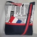 Francia-amerikai zászlós, Táska, Válltáska, oldaltáska, Bútorvászon és kék farmer kombinációja.Piros pöttyös elválasztóval.Bélése vatelin és pi..., Meska