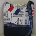 Francia-amerikai zászlós kék pöttyökkel, Táska, Válltáska, oldaltáska,  Bútorvászon és kék farmer kombinációja. Kék pöttyös elválasztóval.Bélése vatelin és k..., Meska