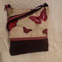 Pillangós -pöttyös táska, Táska, Válltáska, oldaltáska, Bútorvászonból és barna erős vászonból készült táska.Húzózáras,pántja állítható.Bé..., Meska