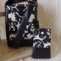 Fekete-fehér mintás kis táska,mobiltokkal, Táska, Válltáska, oldaltáska, Varrás, Bútorvászonból és fekete textil bőrből készült kis méretű táska.Húzózáras,pántja állítható.Pöttyös ..., Meska