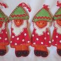 Törpék, Dekoráció, Ünnepi dekoráció, Karácsonyi, adventi apróságok, Karácsonyi dekoráció,  500ft˛/db.Filcből pöttyös pamutvászonból készültek. , Meska