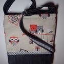 Terrakotta baglyos kicsibe, Táska, Válltáska, oldaltáska, Terrakotta baglyos bútorvászonból és fekete farmerból készült kis táska.Szürke-fehér pöttyös vászonn..., Meska