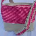 Pink pöttyös kistáska, Táska, Válltáska, oldaltáska, Varrás, Pink pöttyös pamutvászonból és nyers színű farmerból készült állíthatós pántos válltáska.Bélése pöt..., Meska