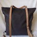 Csokoládé színű hátizsák, Táska, Hátizsák, Sötétbarna kiváló minőségű textilbőrből készült hátizsák,amely válltáskaként is funkcionál.Réz fogaz..., Meska