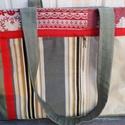 Drapp-zöld csíkos  táska., Táska, Válltáska, oldaltáska, Több vászon anyagból készült táska.Középen amerikai erős vászon.A drapp és a zöld farmer..., Meska