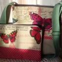 Pillangós,neszesszer és kis táska, Táska, Válltáska, oldaltáska, Varrás, Bútorvászonból és drapp farmerból készült neszesszer és táska.Bélésük pamutvászon és vatelin.A tásk..., Meska