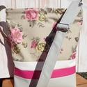 Galambszürke rózsával, Táska, Válltáska, oldaltáska, Bútorvászonból és textilbőrből készült táska.Húzózáras.Pántja textilbőr.3 belső zsebe..., Meska