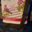 Madárkás szürkével, Táska, Válltáska, oldaltáska, Bútorvászonból és textilbőrből készült táska.Pamutvászonnal bélelt.3 belső zsebe van.Pá..., Meska
