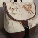 Lovas hátizsák, Táska, Hátizsák, Bútorvászonból és munkaruha vászonból készítettem a hátizsákot.A bútorvászonba táska merevítőt vasal..., Meska