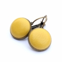 Nap sárga bőr fülbevaló, Napsárga színű bőr francia kapcsos fülbevaló...