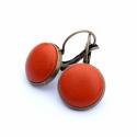 Narancs bőr fülbevaló, Narancs színű bőr francia kapcsos fülbevaló. ...