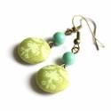 zöld és türkiz - gyöngyös fülbevaló, Türkiz színű üveggyönggyel díszítettem ezt ...