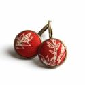Piros mintás francia kapcsos fülbevaló, Piros mintás anyaggal vontam be a gombokat ehhez ...