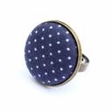 Nyári kollekció - kék pöttyös gyűrű, Ez a gyűrű 23 mm átmérőjű, állítható gyű...