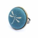 Nyári kollekció - kék szitakötős gyűrű, Ez a gyűrű 23 mm átmérőjű, állítható gyű...
