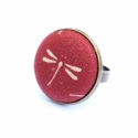 Nyári kollekció - bordó szitakötős gyűrű, Ez a gyűrű 23 mm átmérőjű, állítható gyű...