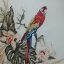 Papagájos keresztszemes kép, Dekoráció, Kép, Hímzés, Papagájos keresztszemes kép. Kép mérete 30x30, kerettel 38x38cm., Meska